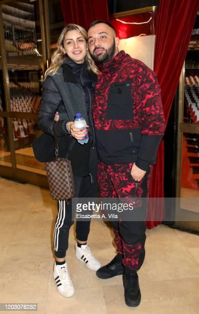 Sharon Macri and Damiano Coccia aka Er Faina attend the Ghost The Musical Photocall at Teatro Sistina on January 30 2020 in Rome Italy