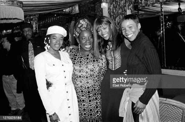 Sharon Marley and Rita Marley with model Naomi Campbell and Cedella Marley at a party for Bob Marley's induction into the Rock Roll Hall Of Fame at...