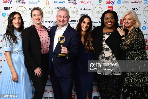 Sharon Marshall Eamonn Holmes Alison Hammond and Alice Beer and crew members from This Morning with the award for Daytime Programme Sponsored by Glen...
