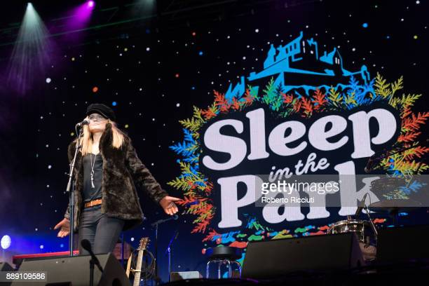 Sharon Martin performs on stage during Sleep In The Park a Mass Sleepout organised by Scottish social enterprise Social Bite to end homelessness in...