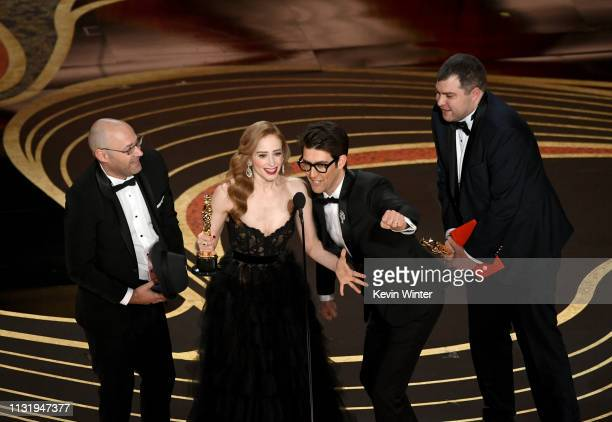 Sharon Maymon Jaime Ray Newman Guy Nattiv and Andrew Carlberg accept the Short Film award for 'Skin' onstage during the 91st Annual Academy Awards at...