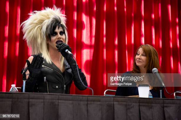 Sharon Needles and Cassandra Peterson attend the 4th Annual RuPaul's DragCon at Los Angeles Convention Center on May 12 2018 in Los Angeles California