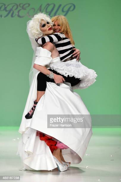 Sharon Needles and designer Betsey Johnson walk the runway at the Betsey Johnson fashion show during MercedesBenz Fashion Week Spring 2015 at The...