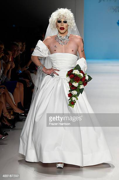 Sharon Needles walks the runway at the Betsey Johnson fashion show during MercedesBenz Fashion Week Spring 2015 at The Salon at Lincoln Center on...