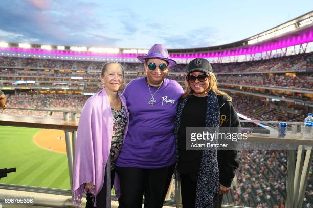 Sharon Nelson Omarr Baker and Norrine Nelson help celebrate Prince Night at Target Field a tribute to Minneapolis' own late musician organized by...