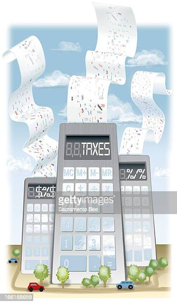 Sharon Okada illustration depicting office buildings as calculators can be used with stories about corporate tax rates