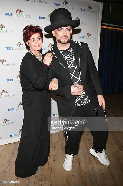 Sharon Osbourne and Boy George attend The 5th Annual Cyndi Lauper And Friends Home For The Holidays Benefit Concert at The Beacon Theatre on December...