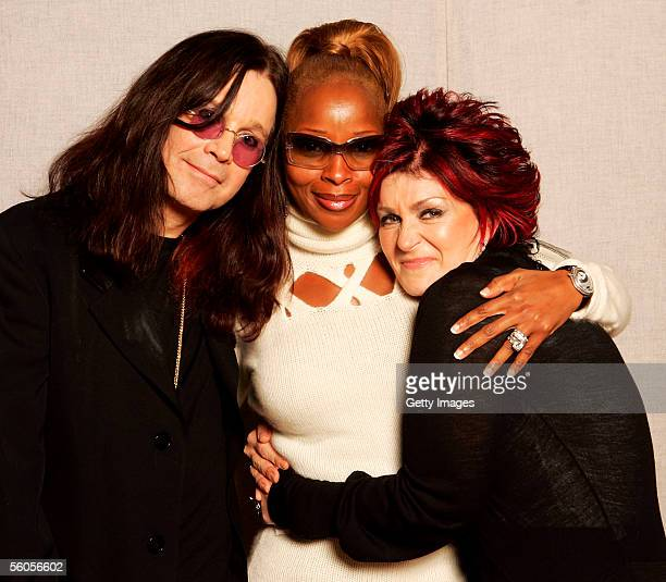 Sharon Osbourne and musical artists Mary J Blige and Ozzy Osbourne pose for a portrait to promote the Tsunami relief charity single a cover of the...