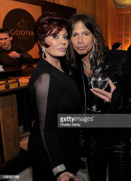 Sharon Osbourne and singer Steven Tyler attend the 19th Annual Elton John AIDS Foundation Academy Awards Viewing Party at the Pacific Design Center...