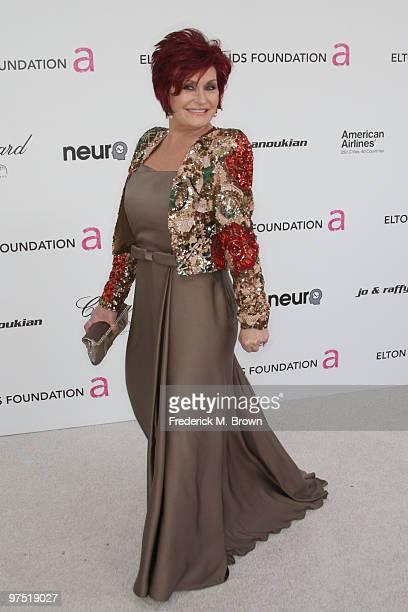 Sharon Osbourne arrives at the 18th annual Elton John AIDS Foundation's Oscar Viewing Party held at the Pacific Design Center on March 7 2010 in Los...