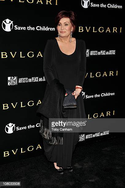 Sharon Osbourne arrives for a BVLGARI fundraiser benefitting Save The Children and Artists For Peace held at a private residence on January 13 2011...