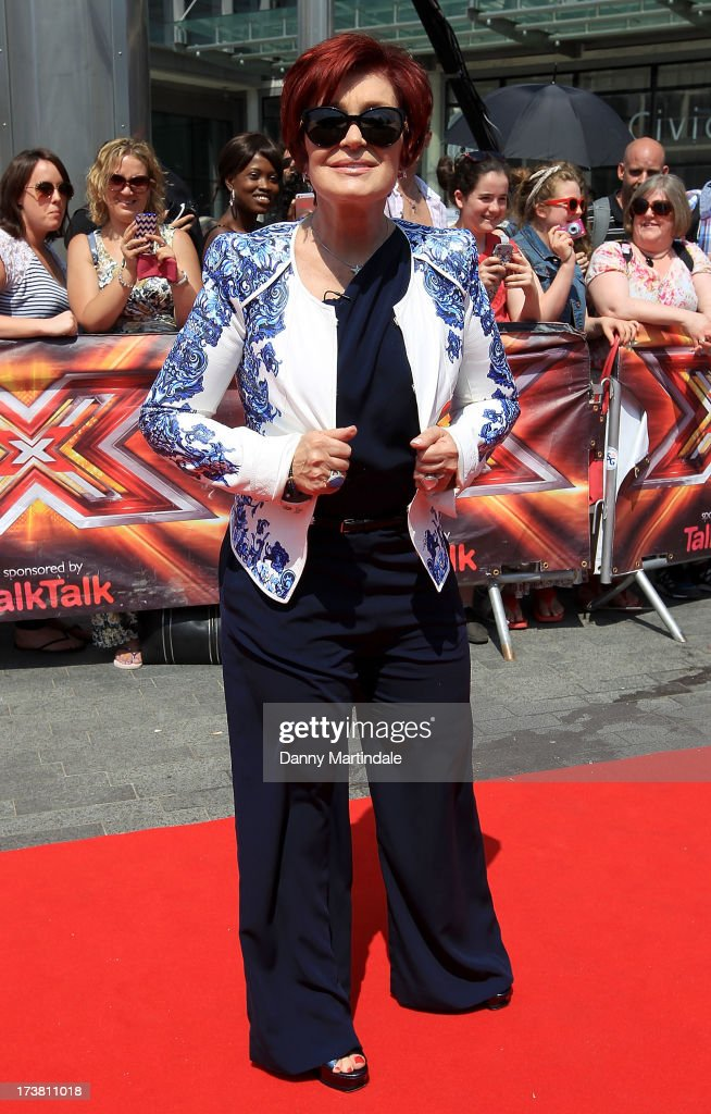 Sharon Osbourne arrives for the last day of the London auditions of The X Factor at Wembley Arena on July 18, 2013 in London, England.