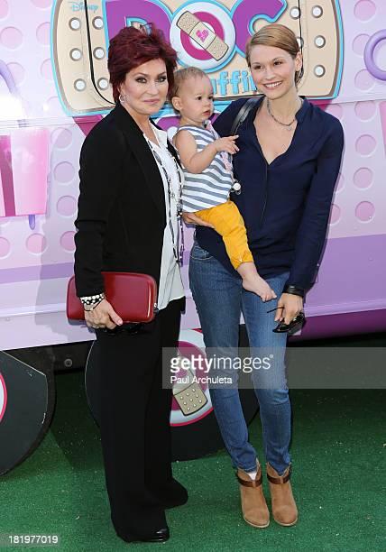 Sharon Osbourne Grand Daughter Pearl Osbourne and Daughter In law Lisa Osbourne attend Disney Junior's Doc McStuffins Doc Mobile tour at The Grove on...