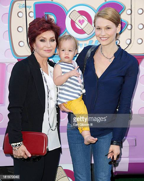 Sharon Osbourne granddaughter Pearl and daughterinlaw Lisa Stelly attend Disneys Juniour's Doc McStuffins Doc Mobile at The Grove on September 26...