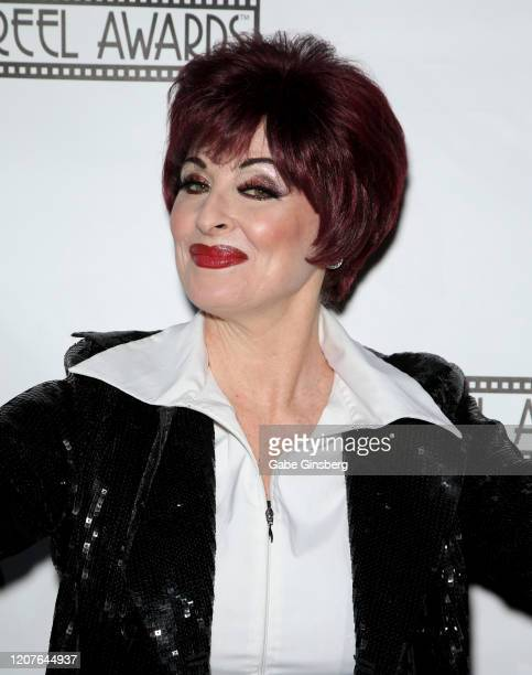 Sharon Osbourne impersonator Bonnie Kilroe of British Columbia attends The Reel Awards 2020 at Marilyn's Lounge inside the Eastside Cannery Casino...