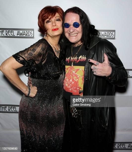 Sharon Osbourne impersonator Caroline Bernstein and Ozzy Osbourne impersonator Sergio Casasanta both of the United Kingdom attend The Reel Awards...