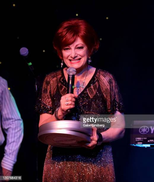 Sharon Osbourne impersonator Caroline Bernstein of the United Kingdom accepts the Comedy award during The Reel Awards 2020 at Marilyn's Lounge inside...