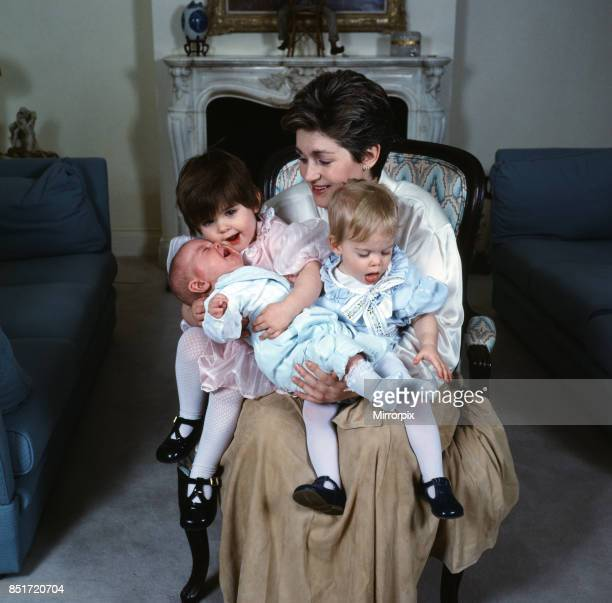 Sharon Osbourne is pictured with her three children, aimee, Kelly and Jack, Circa 1986.