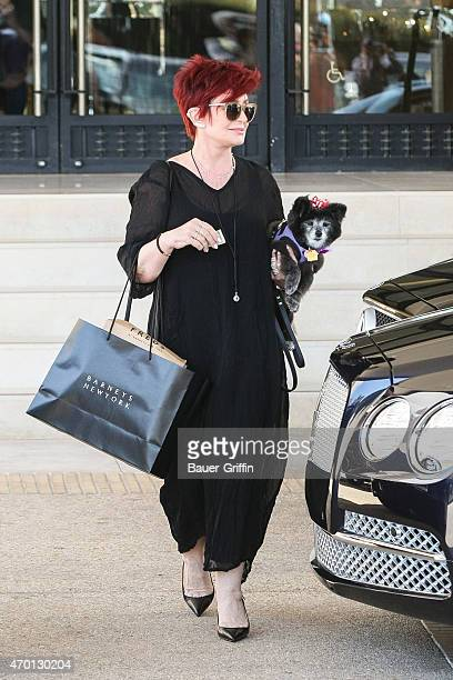 Sharon Osbourne is seen leaving Barneys New York with her dog on April 17 2015 in Los Angeles California