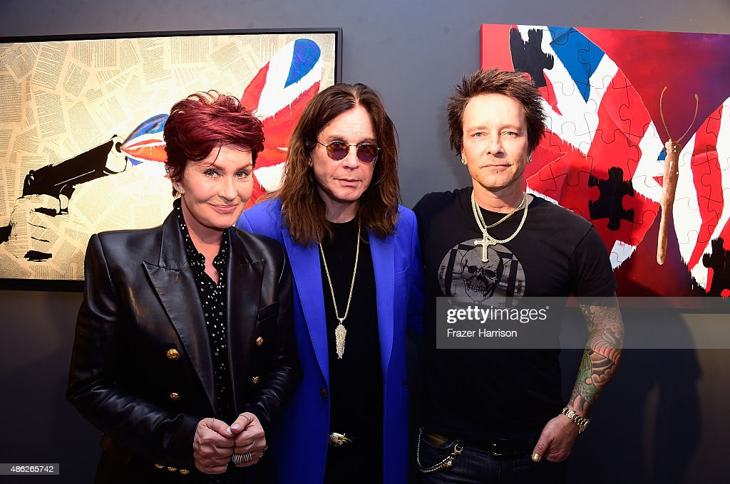 Sharon Osbourne, Ozzy Osbourne and Billy Morrison attend an VIP Opening Reception For 'Dis-Ease' An Evening Of Fine Art With Billy Morrison at Mouche Gallery on September 2, 2015 in Beverly Hills, California.