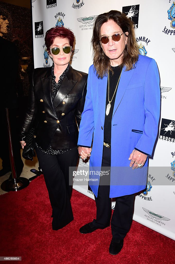 Sharon Osbourne, Ozzy Osbourne attend an VIP Opening Reception For 'Dis-Ease' An Evening Of Fine Art With Billy Morrison at Mouche Gallery on September 2, 2015 in Beverly Hills, California.