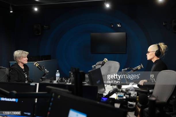 Sharon Osbourne speaks to SiriusXM host Jenny McCarthy at the SiriusXM Hollywood Studio on February 27, 2020 in Los Angeles, California.
