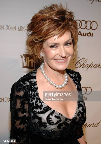 Sharon Osbourne wearing Chopard during 14th Annual Elton John AIDS Foundation Oscar Party Co-hosted by Audi, Chopard and VH1 - Red Carpet at Pacific...