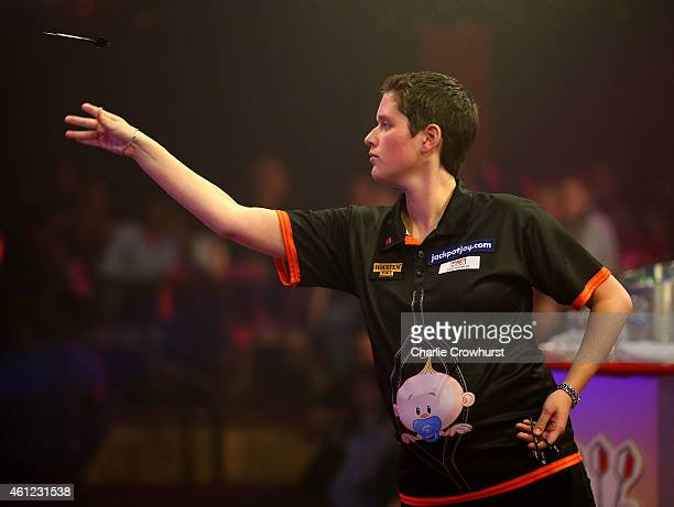 Sharon Prins of the Netherlands in action during her semi final match against Lisa Ashton of England during the BDO Lakeside World Professional Darts...
