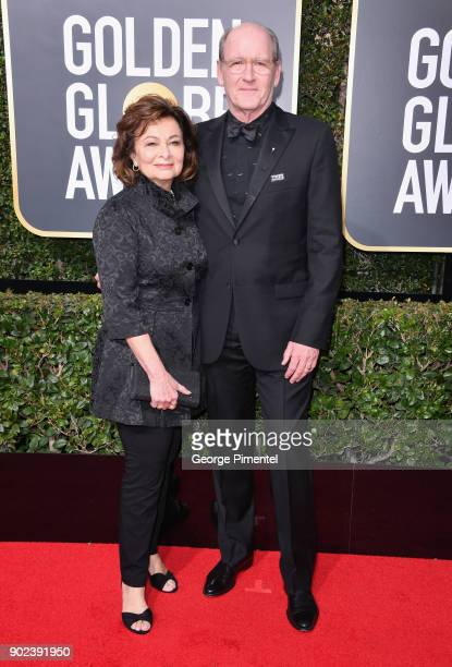 Sharon R Friedrick and actor Richard Jenkins attend The 75th Annual Golden Globe Awards at The Beverly Hilton Hotel on January 7 2018 in Beverly...