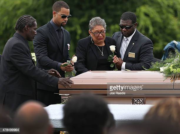 Sharon Risher pays her respects to her mother Ethel Lance who was one of nine victims of a mass shooting at the Emanuel African Methodist Episcopal...