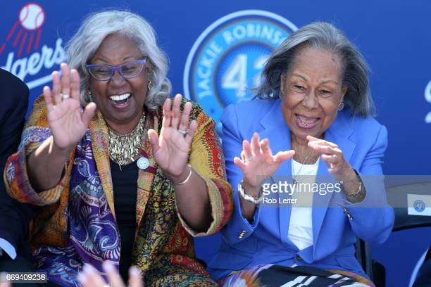 Sharon Robinson and Rachel Robinson enjoy a light moment at the unveiling of the Jackie Robinson statue before the game between the Arizona...