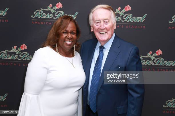 Sharon Robinson daughter of Jackie Robinson and Sports broadcaster Vin Scully attend as the Rose Bowl Legacy Foundation hosts the dedication of the...