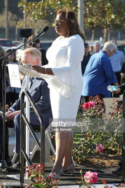 Sharon Robinson daughter of Jackie Robinson attends as the Rose Bowl Legacy Foundation hosts the dedication of the Jackie Robinson Statue at Rose...