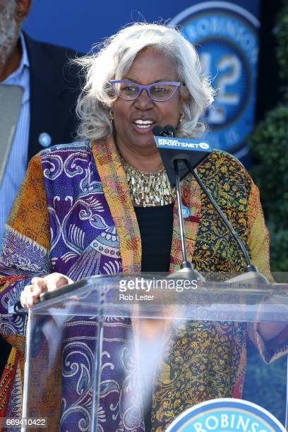 Sharon Robinson speaks at the unveiling of the Jackie Robinson statue before the game between the Arizona Diamondbacks and the Los Angeles Dodgers at...