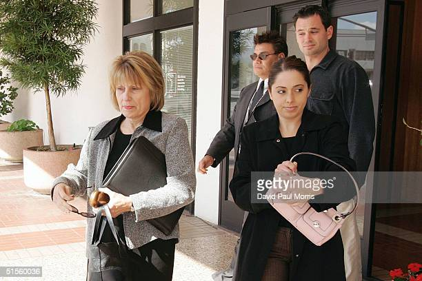 Sharon Rocha and Amy Rocha the mother and sister of Laci Peterson leave the San Mateo County Courthouse or a lunch break October 25 2004 in Redwood...