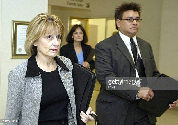 Sharon Rocha mother of murdered woman Laci Peterson and victim witness Alex Loya arrives at the San Mateo County Courthouse in Redwood City for the...