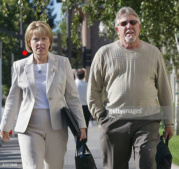 Sharon Rocha the mother of Laci Peterson along with Laci's stepfather Ron Grantski walk to the lobby of the San Mateo Superior County Court House in...