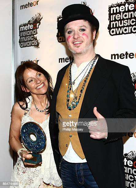 Sharon Shannon who won the Lifetime Achievement award and Mundy appear in the Meteor Ireland Music Awards press room after winning the Best...