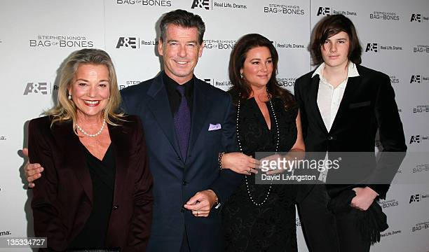 "Sharon Smith, actor Pierce Brosnan, wife Keely Shaye Smith and son Dylan Brosnan attend the premiere party for A&E's original miniseries ""Bag Of..."