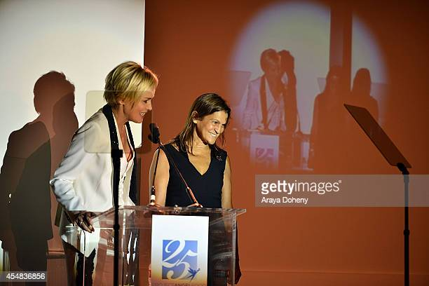 Sharon Stone and Aileen Getty attend the Project Angel Food's 25th Anniversary Angel Awards 2014 honoring Aileen Getty with the Inaugural Elizabeth...
