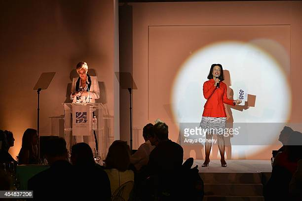 Sharon Stone and Andrea Fiuczynski attend the Project Angel Food's 25th Anniversary Angel Awards 2014 honoring Aileen Getty with the Inaugural...