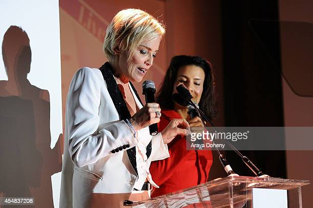 Sharon Stone and Andrea Fiuczynski attend the Project Angel Food's 25th Anniversary Angel Awards 2014, honoring Aileen Getty with the Inaugural...