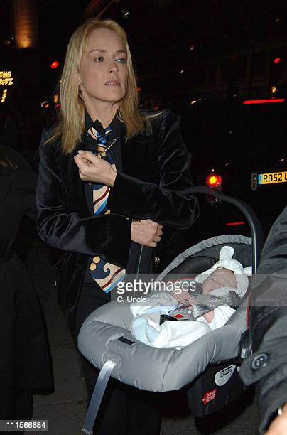 Sharon Stone and baby Laird Vonne Stone during Sharon Stone and Baby Sighting at The Wolsely in London July 6 2005 at The Wolsely in London Great...