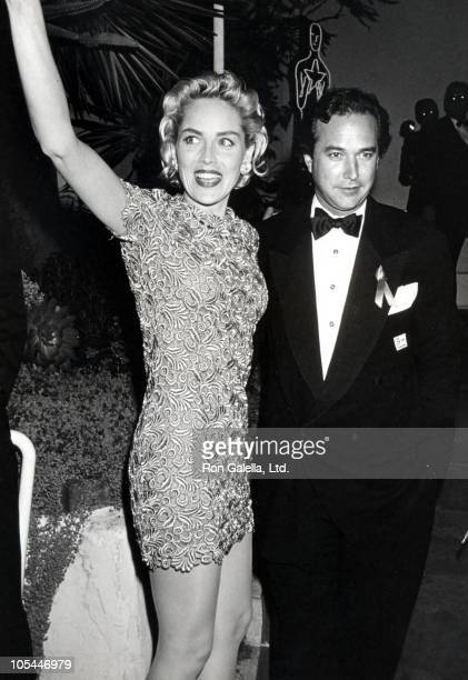 Sharon Stone And Bill McDonald during 65th Annual Academy Awards Swifty Lazar Party at Spago's Restaurant in Hollywood California United States