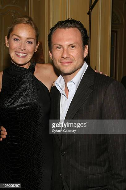 Sharon Stone and Christian Slater during Harvey Weinstein Hosts a Private Dinner and Screening of Bobby for Senators Obama and Schumer at Plaza...