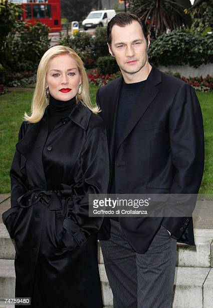 Sharon Stone and David Morrissey at the Basic Instinct 2 Risk Addiction London Photocall at Four Seasons Hotel in London