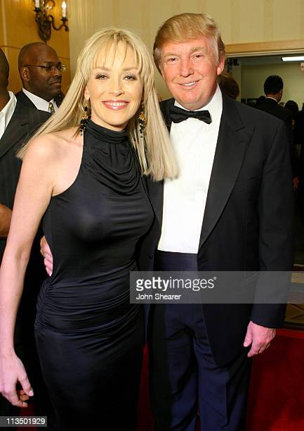 Sharon Stone and Donald Trump during Muhammad Ali's Celebrity Fight Night XIII Inside at Marriot Desert Ridge Resort Spa in Phoenix Arizona United...