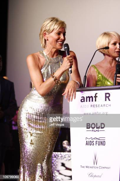 Sharon Stone and Ellen Barkin at amfAR's Cinema Against AIDS event, presented by Bold Films, the M*A*C AIDS Fund and The Weinstein Company to benefit...