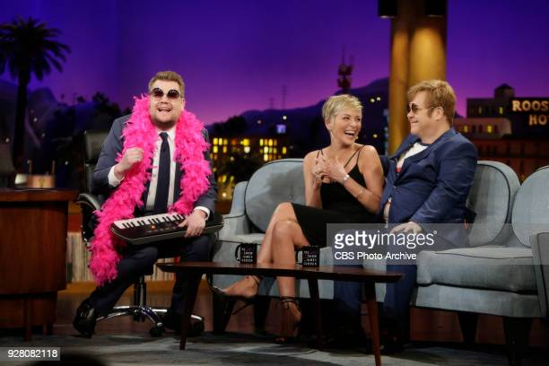 Sharon Stone and Elton John visit with James Corden during 'The Late Late Show with James Corden' Wednesday February 28 2018 On The CBS Television...