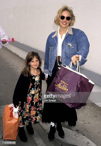 Sharon Stone and goddaughter during 'Aladdin' Benefit Premiere at El Captian Theater in Hollywood California United States
